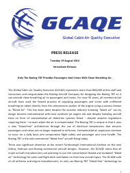 """""""Gcaqe Press Release: Only the Boeing 787 Provides Passengers and Crews With Clean Breathing Air"""""""