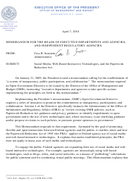 """Memorandum for the Heads of Executive Departments and Agencies, and Independent Regulatory Agencies (Social Media, Web-Based Interactive Technologies, and the Paperwork Reduction Act )"""