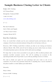 "Sample ""Business Closing Letter to Clients"""