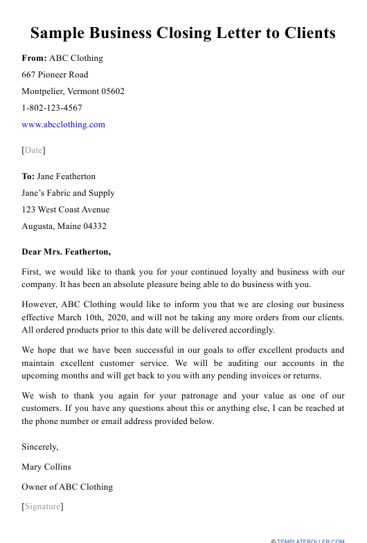 """Sample """"Business Closing Letter to Clients"""" Download Pdf"""