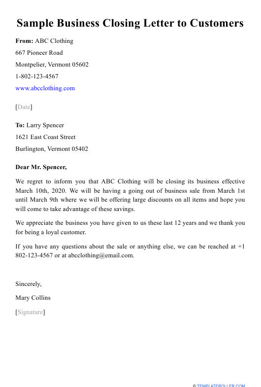 "Sample ""Business Closing Letter to Customers"" Download Pdf"