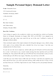 """Sample """"Personal Injury Demand Letter"""""""