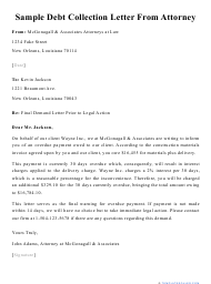 "Sample ""Debt Collection Letter From Attorney"""
