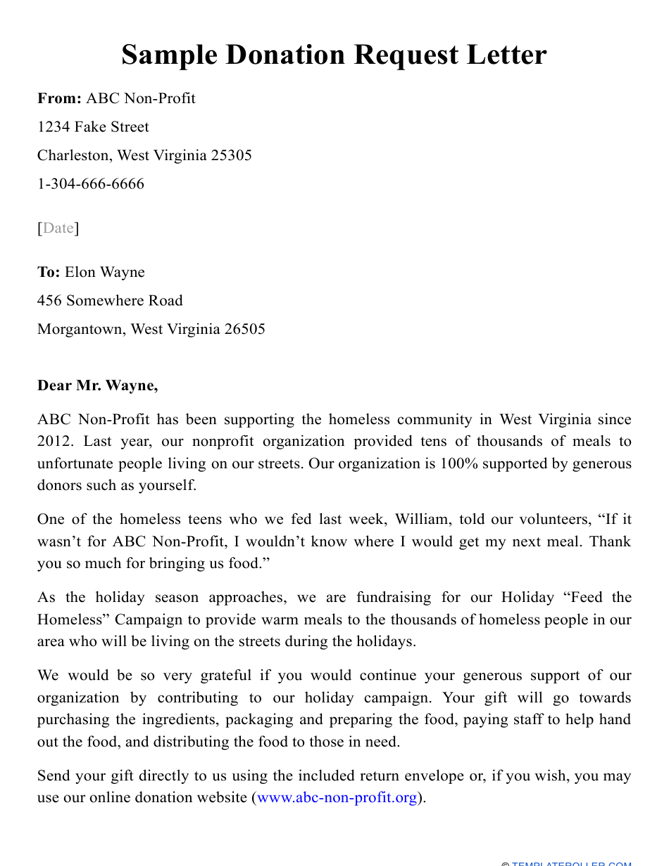 Sample Donation Request Letter Download Printable Pdf Templateroller