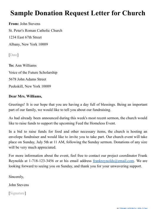"""Sample """"Donation Request Letter for Church"""" Download Pdf"""
