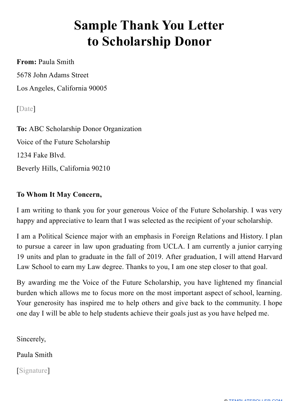 sample thank you letter to scholarship donor download