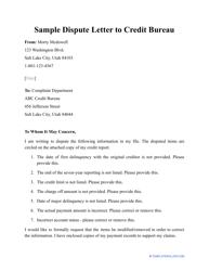 "Sample ""Dispute Letter to Credit Bureau"""