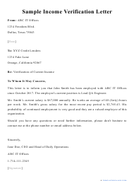 "Sample ""Income Verification Letter"""