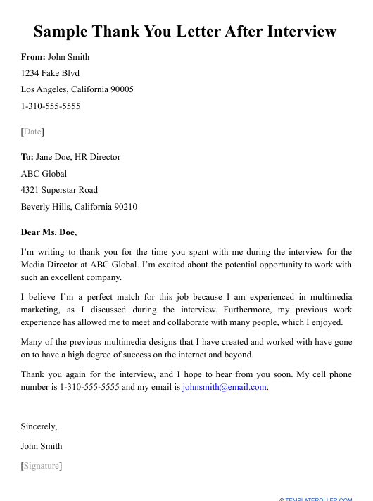 """Sample """"Thank You Letter After Interview"""" Download Pdf"""