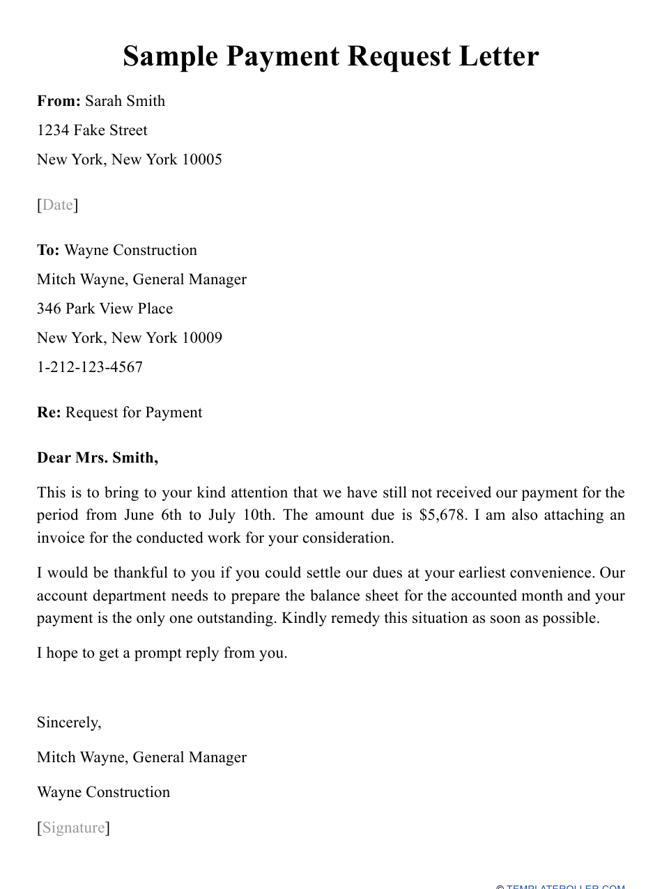 Sample Payment Request Letter Download Printable PDF ...