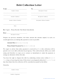 """""""Debt Collection Letter Template"""""""