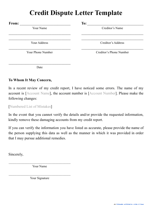 """Credit Dispute Letter Template"" Download Pdf"