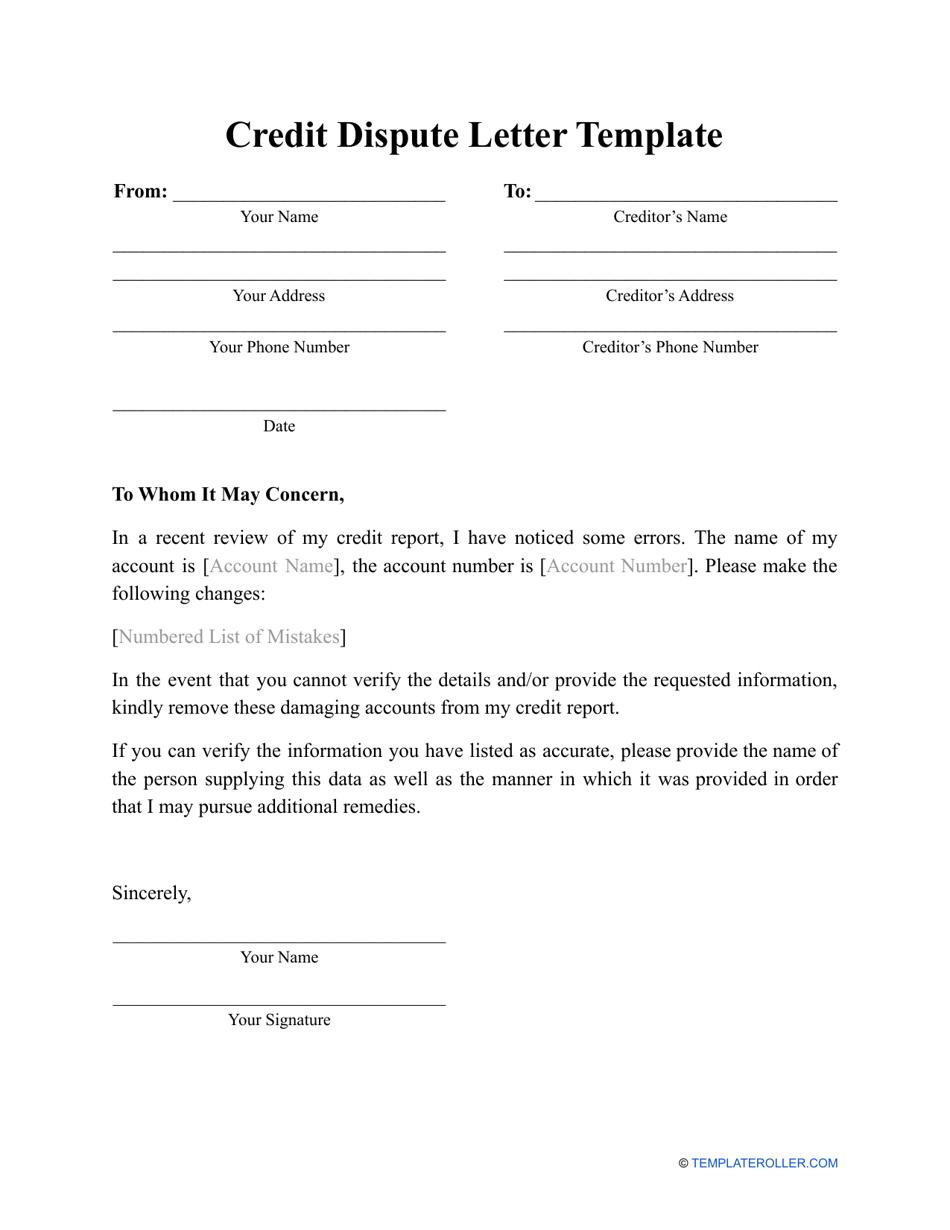 Credit Dispute Letter Template Download Printable PDF  Templateroller Inside Credit Report Dispute Letter Template