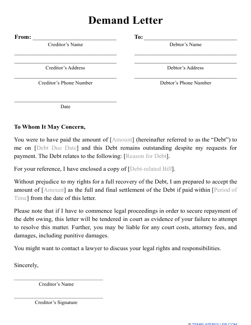 """Demand Letter Template"" Download Pdf"