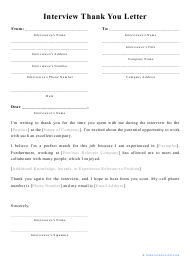 """Interview Thank You Letter Template"""