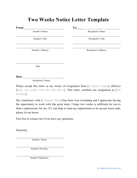 """Two Weeks Notice Letter Template"" Download Pdf"
