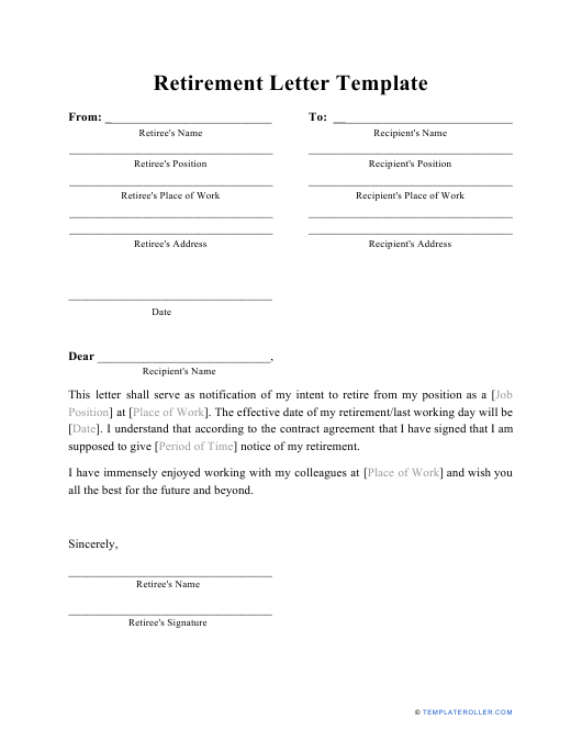 """Retirement Letter Template"" Download Pdf"