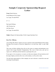 "Sample ""Corporate Sponsorship Request Letter"""