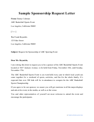 "Sample ""Sponsorship Request Letter"""