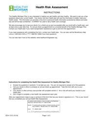 "Form DCH-1315 ""Health Risk Assessment"" - Michigan"