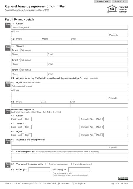 Form 18A Printable Pdf