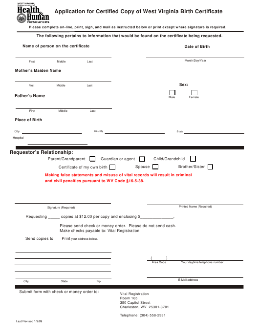 """""""Application for Certified Copy of West Virginia Birth Certificate"""" - West Virginia Download Pdf"""