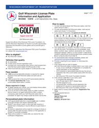 "Form MV2960 ""Golf Wisconsin License Plate Application"" - Wisconsin"