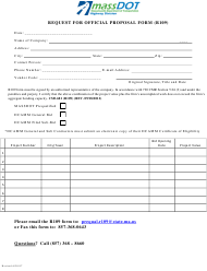 """Form R109 """"Request for Official Proposal Form"""" - Massachusetts"""