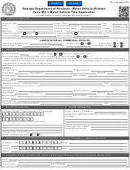 "Form MV-1 ""Motor Vehicle Title Application"" - Georgia (United States)"