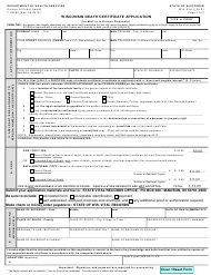 "Form F-05280 ""Death Certificate Application"" - Wisconsin"