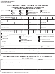 """Form DR2698 """"Verification of Vehicle Identification Number"""" - Colorado"""