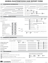 """Animal Blastomycosis Case Report Form"" - Minnesota"