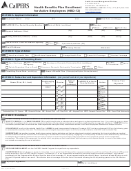"""Form HBD-12 """"Health Benefits Plan Enrollment for Active Employees"""" - California"""