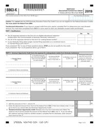 "Form 8863-K ""Kentucky Education Tuition Tax Credit"" - Kentucky, 2019"