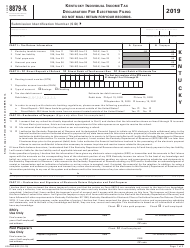"""Form 8879-K (42A740-S22) """"Kentucky Individual Income Tax Declaration for Electronic Filing"""" - Kentucky, 2019"""
