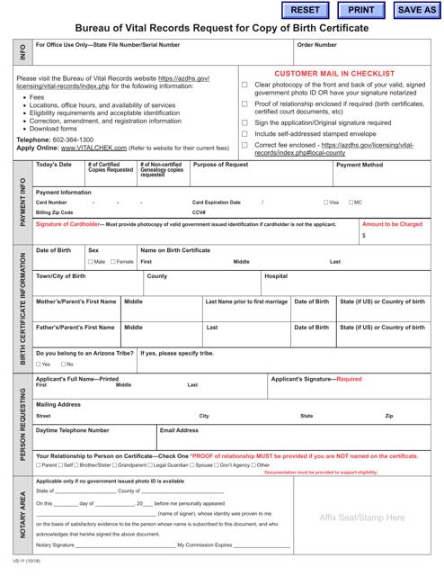 Form VS-11  Printable Pdf