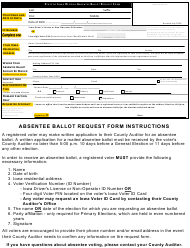 """""""State of Iowa Official Absentee Ballot Request Form"""" - Iowa"""