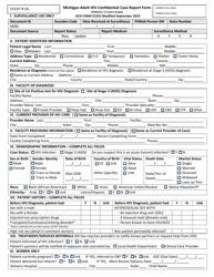 "Form DCH-1355 ""Michigan Adult HIV Confidential Case Report Form"" - Michigan"