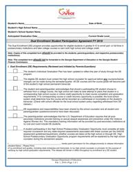 """Dual Enrollment Student Participation Agreement"" - Georgia (United States), 2019"