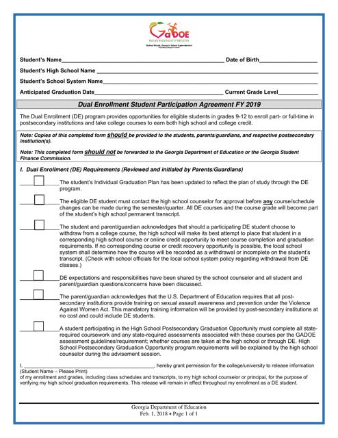 """Dual Enrollment Student Participation Agreement"" - Georgia (United States) Download Pdf"