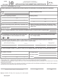 "Form ST-10 ""Application for Exemption Certificate"" - South Carolina"