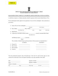 "Form K ""Application for Registration of Birth of a Child"" - Australia"