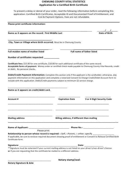 """""""Application for a Certified Birth Certificate"""" - Chemung County, New York Download Pdf"""