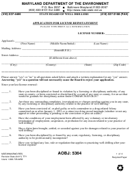 "Form MDE/WMA/BWD/RES ""Application for License Reinstatement"" - Maryland"