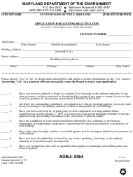 "Form MDE/WMA/BWD/REA ""Application for License Reactivation"" - Maryland"