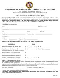 "Form MDE/WMA/BWW/EXM ""Application for Operator Examination"" - Maryland"