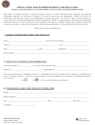 "Form MDE/WMA/BWW/SUP ""Application for Superintendent Certificate"" - Maryland"