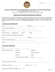 "Form MDE/WMA/BWW/TRN ""Application for Training Program Approval"" - Maryland"