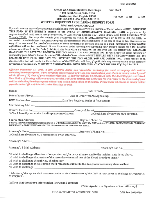 """""""Written Objection and Hearing Request Form"""" - West Virginia Download Pdf"""