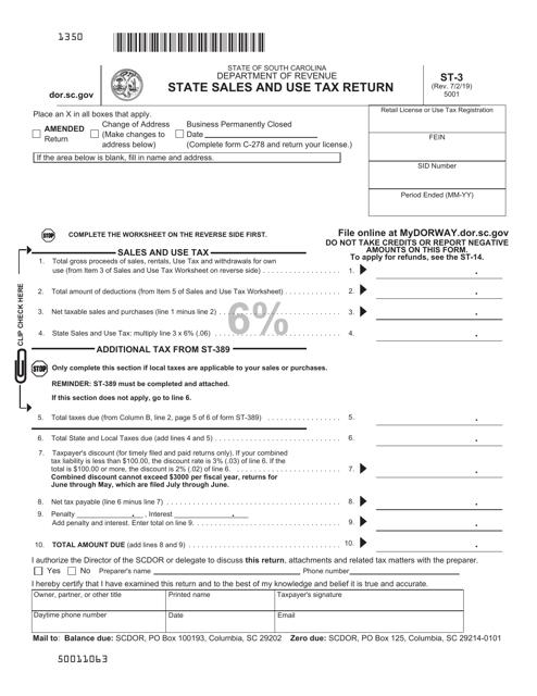 Form ST-3 Printable Pdf